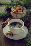 Coffee and italian cookies biscotti, christmas tree Stock Image