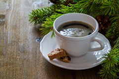 Coffee and italian cookies biscotti, christmas tree Royalty Free Stock Photo