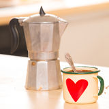 Coffee in Italian style on a wooden table Royalty Free Stock Image