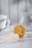 Coffee items on white table close up Royalty Free Stock Photo