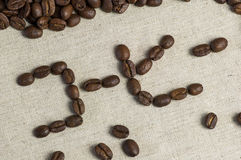 Coffee in Japanese. Coffee written in Japanese with coffee beans stock images