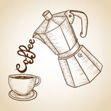 Coffee jar and cup illustration Royalty Free Stock Images