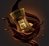Coffee jar and splash effect, high detailed realistic illustrat stock illustration