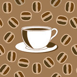 Coffee and java beans. Seamless background stock illustration