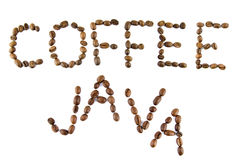 Coffee and java words from coffee Royalty Free Stock Image