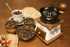 Coffee and jute. Coffee seeds in copper bowls with ceramic cup and grinder with composition jute Stock Photography