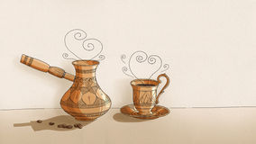 Coffee Kettle and Cup - drawn on paper - black outline  Royalty Free Stock Photography