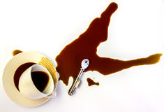 The coffee and key. Royalty Free Stock Images