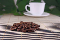 Coffee kind. Grains of coffee against the white cup, lying on a bamboo napkin Stock Images