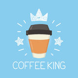Coffee king vector cartoon flat and doodle illustration. Crown and stars icon Royalty Free Stock Photography
