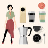 Coffee. Kitchen, bar, restaurant design elements Royalty Free Stock Photo