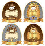 Coffee label. Four labels with a cup of coffee and chocolate spray vector illustration