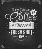 Coffee label on chalkboard Stock Photography
