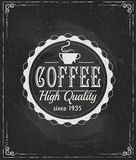 Coffee label on chalkboard Royalty Free Stock Images