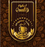 Coffee label design over vintage pattern background Royalty Free Stock Images