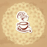 Coffee label over circle ornamental vintage backgr Stock Images
