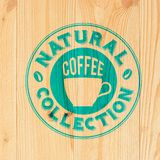 Coffee label on wood Royalty Free Stock Photo