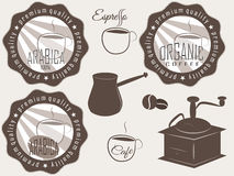Coffee labels and badges. Stock Photo