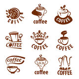 Coffee labels with sample text. Mugs, beans and coffee equipment. Icons for coffeehouse, espresso bar, restaurant, packaging and advertising Stock Image