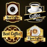 Coffee labels set Stock Photos