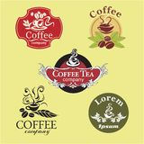 Coffee labels. Set of five vintage coffee labels Royalty Free Stock Images