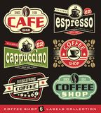 Coffee labels and stickers collection Stock Photos