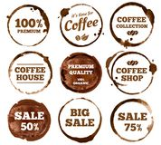 Coffee labels. Watercolor dirty espresso cup ring stain logo. Vector isolated illustration vector illustration