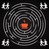 Coffee labyrinth - couple run for a cup of coffee Stock Image