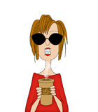 Coffee Lady. Cartoon of a happy woman holding a large cup of coffee Stock Photography