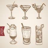 Coffee late cappuccino creme cocktail engraving vector vintage. Coffee late cappuccino creme cocktail liquor aperitif alcohol hot beverage glasses set. Engraving stock illustration