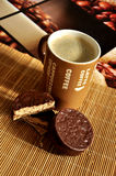 Coffee latte with an american biscotti Stock Photo