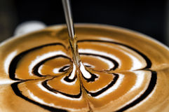 Coffee latte art. A cup of coffee latte made by coffe artist stock photos