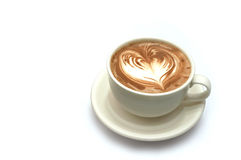 Coffee latte art. Coffee latte with love shape art Royalty Free Stock Images