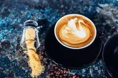 Coffee latte art, barista and bartender creating machiatto coffee Stock Photography