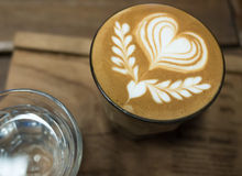 Coffee latte art. With heart shape Stock Image