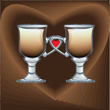 Coffee latte on the background of the heart - illustration Stock Image