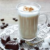 Coffee latte , chocolate and marshmallows Stock Photos