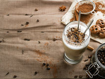 Coffee latte. With chocolate sprinkles stock image