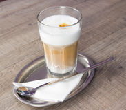 Coffee latte. Coffe latte photo on wood table Royalty Free Stock Photos