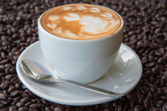 Coffee Latte and Coffee beans Royalty Free Stock Photos