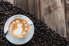 Coffee Latte and Coffee beans Stock Photo