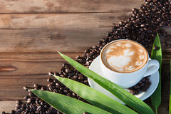 Coffee Latte and Coffee beans Royalty Free Stock Image