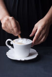 Coffee, latte coffee on a black background Royalty Free Stock Photography