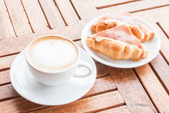 Coffee latte and croissants Royalty Free Stock Images