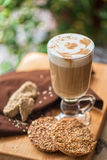 Coffee latte cup with cookies Royalty Free Stock Photos