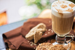 Coffee latte cup with cookies Royalty Free Stock Image