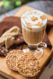 Coffee latte cup with cookies Royalty Free Stock Images