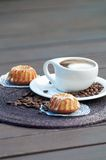 Coffee Latte Cup With Desert. On Wooden Table Stock Images
