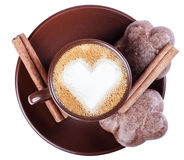 Coffee latte, espresso with a picture of the heart, cookies, cin Royalty Free Stock Photography