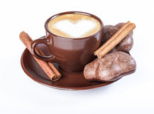 Coffee latte, espresso with a picture of the heart, cookies, cinnamon. Stock Photo